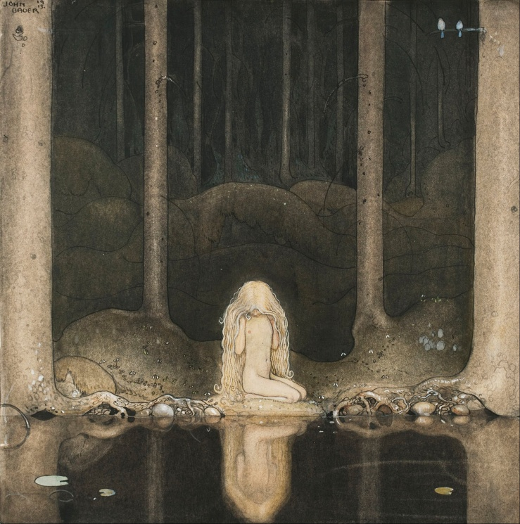 John_Bauer_-_Princess_Tuvstarr_gazing_down_into_the_dark_waters_of_the_forest_tarn._-_Google_Art_Project
