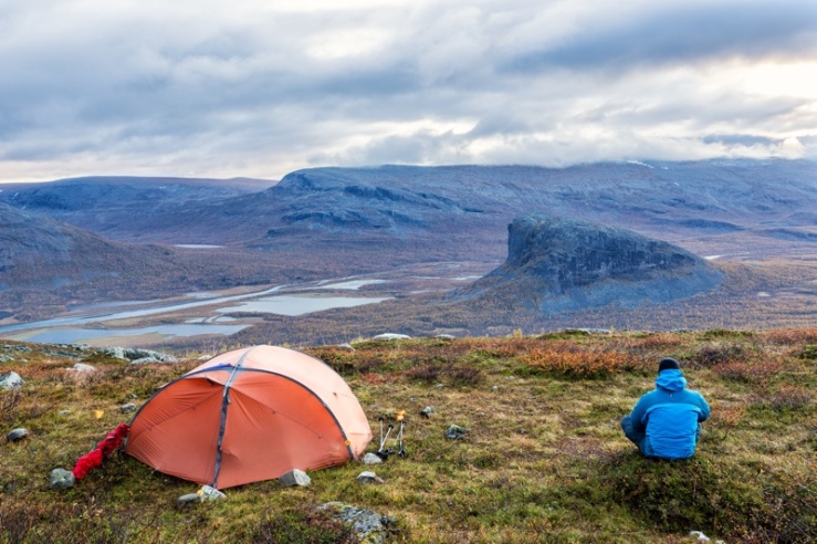 Camp in the Sarek - Nationalpark in Sweden, Lapland in autumn