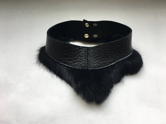 Slender Choker - NZ Deer Hide and Rabbit Fur Trim